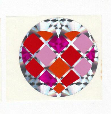 Vintage Heart Prism Sticker - Prismatic Pink Purple Checkered Argyle