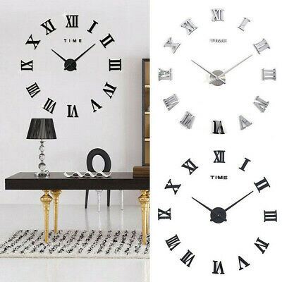 Large Modern DIY Roman Numerals 3D Mirror Surface Number Wall Clock Sticker Home