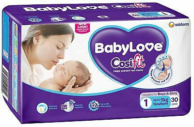 BabyLove Cosifit Newborn Nappies Up to 5kg Double Support Soft Comfy 30 Pack x 4
