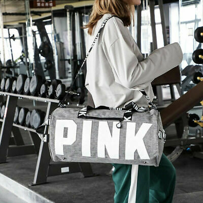 NEW PINK Grey Canvas Duffle Bag Yoga Holiday Gym Travel Weekend Top Women Black