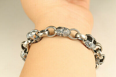 Fine S925 solid Silver buddha evil hand carving bracelet cool noble gift