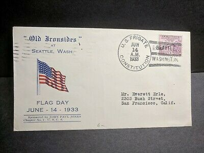 USS CONSTITUTION Naval Cover 1933 FLAG DAY Cachet