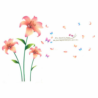 Household Living Room Blooming Lily Pattern Wall Sticker Decal Mural 90 x 60cm