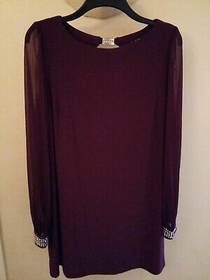 BNWOT - Purple Tunic Top 18 - Billie & Blossom - Sheer Sleeves - Sparkly Cuffs