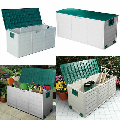 Outdoor Garden Plastic Storage Seat Utility Chest Cushion Shed Box Tools 114Cm