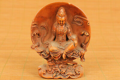 old boxwood hand carved kwan-yin buddha statue blessing box table deco