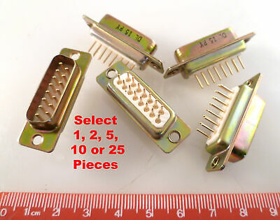 D Type 15 Way Plug Gold Contacts PCB Mount OM0259A