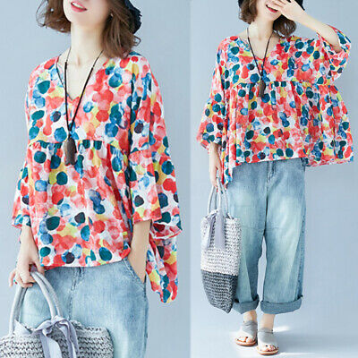 ZANZEA Womens Floral Printed V Neck Tops Blouse Ladies High Low Loose Shirt Tee