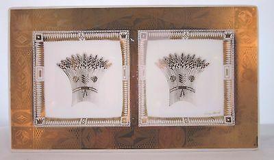 Vtg Georges BRIARD Bent Glass Divided Dish Signed Tray Gold Wheat Mid Century