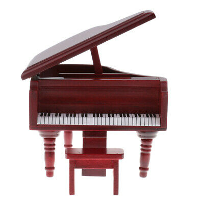 1/12 Dollhouse Miniature Wooden Piano with Stool for Music Room Rosewood
