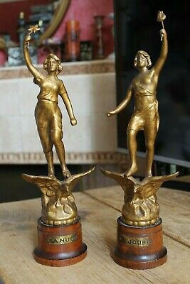 Antique c.1900 Pair of French Spelter Statues Le Jour & La Nuit (Day & Night)