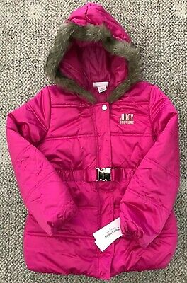 Juicy Couture Girls Hooded Winter Jacket Coat Hot Pink Size 6 Faux Fur Trim