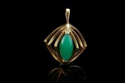 Old Art Deco Chinese Apple Green Jade 10K Gold Pendant A801-305