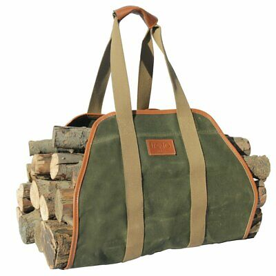 "INNO STAGE Waxed Canvas Log Carrier Tote Bag,40""X19"" Firewood Holder,Fireplace W"