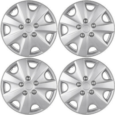 """4 PC Hubcaps fits 09-15 Nissan Cube 15/"""" Silver Replacement Wheel Rim Skin Cover"""