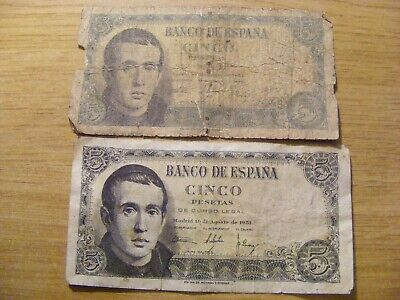 2 x 1951 Spain 5 Pesetas Banknotes - Used folds and dirty marks