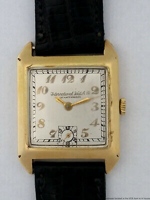 14k Gold Mens Art Deco Rare IWC Vintage 1930s Watch Orig Case Breguet Numbers