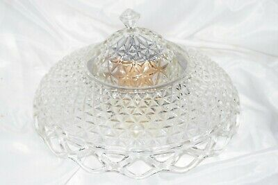 Antique Vintage Cut Crystal Glass Diamond Ceiling Lamp Shade