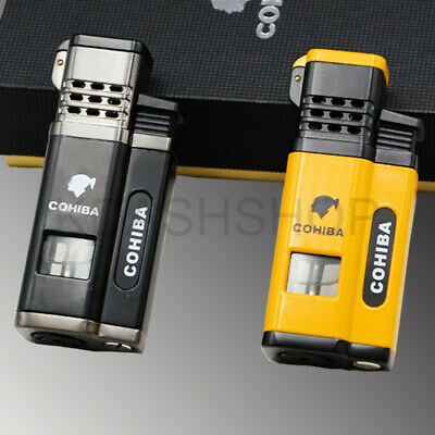 COHIBA Business Windproof Cigar Metal Lighters 4 Torch Jet Flame W/Punch