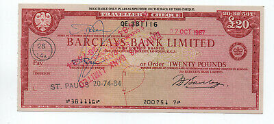 Barclays  Bank  Travellers  Cheque  £20  1967