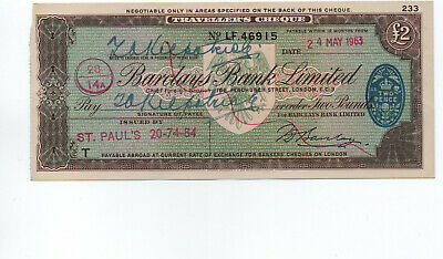 Barclays  Bank  Travellers  Cheque  £2  1963