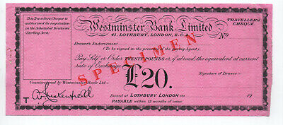 Westminster  Bank   Specimen  Travellers  Cheque  £20  1954  With  Letter