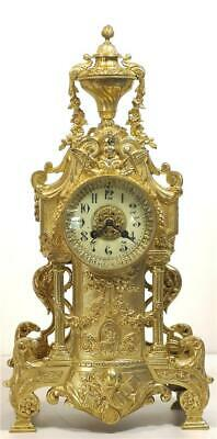 Stunning Antique French 1870's Embossed Gilt Bronze Bell Striking Mantle Clock