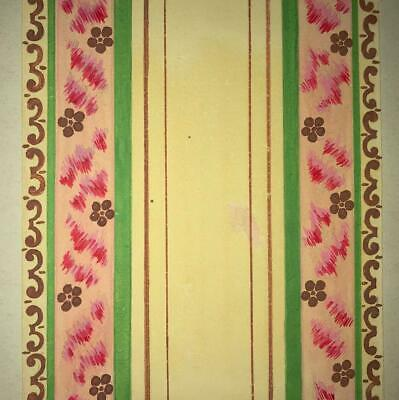 BEAUTIFUL 19th CENTURY ANTIQUE HAND PAINTED FRENCH SILK DESIGN CARTOON 18.