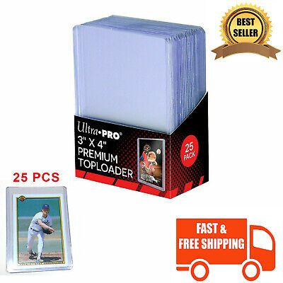 Hard Plastic Baseball Trading Card Topload Holders Cards Sleeves Clear 25 Pcs