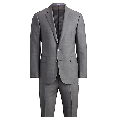 Ralph Lauren Purple Label Mens Anthony Grey Sharkskin Modern Wool Slim Suit 38L