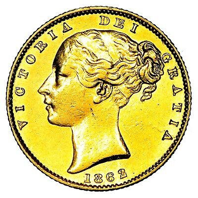 1862 Queen Victoria Great Britain London Mint Gold Sovereign Coin