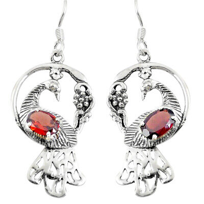 4ffc93166 925 sterling silver natural red garnet dangle peacock earrings jewelry  d29738