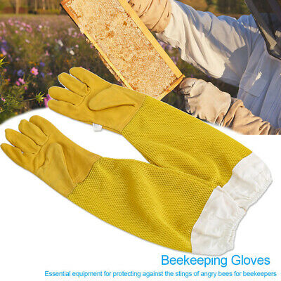1 Pair Beekeeping Gloves Goat Skin Bee Keeping Vented Beekeeper Long Sleeves XL