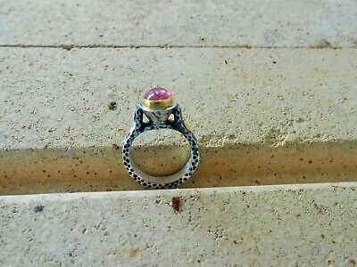 24K Pure Gold Hand Made Hammered  & Oxidized Silver Ring  Pink Tourmaline