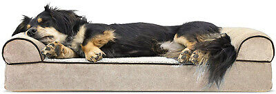 FurHaven Pet Dog Bed | Orthopedic Faux Fleece and Chenille Soft Woven Couch Pet