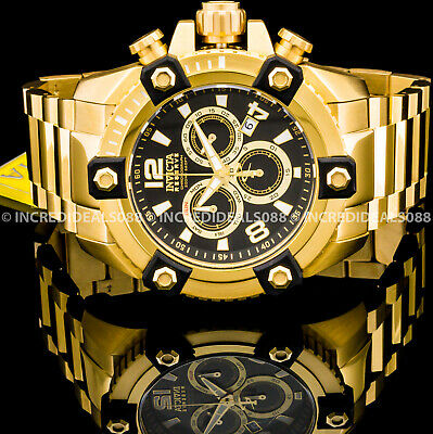 Invicta Men Reserve Arsenal Octane Swiss Chronograph Black 18Kt Gold 56mm Watch