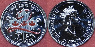 Proof Like 2000 Canada Pride Color 25 Cents From Mint's Pack