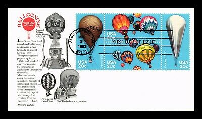 Dr Jim Stamps Us Hot Air Balloons Aristocrat First Day Cover Block Of Four