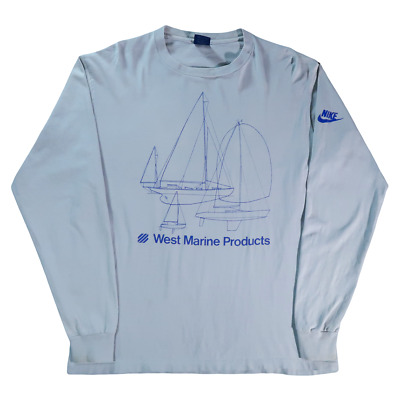 320d841ae4e1c RARE Vintage Nike 90s Blue Tag West Marine Products Long Sleeve T Shirt  Large L
