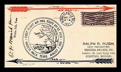 Dr Jim Stamps Us Wichita Falls Am 33 First Flight Air Mail Cover Signed
