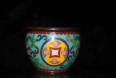Chinese Cloisonne hand painted flowers cup bowl tank