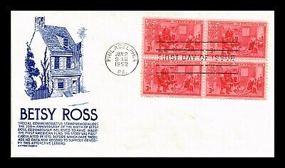 Dr Jim Stamps Us Betsy Ross Cs Anderson First Day Cover Block Philadelphia