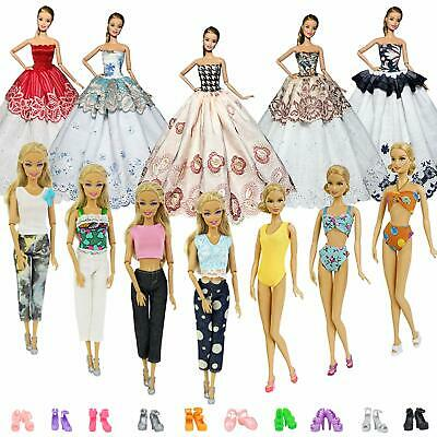 10 Sets Fashion Clothes Outfits + 10 Pairs Shoes for 11.5 inch Girl Accessories