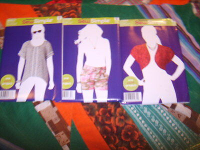 LOT of THREE (3) UNCUT Ladies Sizes 8-18 Sewing Patterns SIMPLICITY SEW SIMPLE