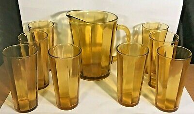 5d91ed88720a Vintage Anchor Hocking Amber Glass Pitcher + 8 drinking glasses Honey Gold  NOS