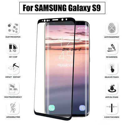 SAMSUNG Galaxy S9 TEMPERED Glass Screen Protector - CLEAR 5D FULL COVER