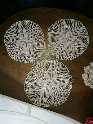 3 x Vintage ~Lace Doilies~ Round~ Green Edging ~VGC