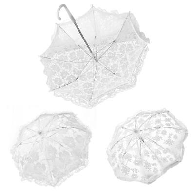 Embroidered ES1V Beauty Lace Parasol Party Wedding Home White Umbrella Decor