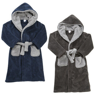 4Kidz Boys Snuggle Soft Hooded Dressing Gown Robe