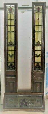 Original Door Antique Stained Glass Leaded Window Side and top Light Edwardian